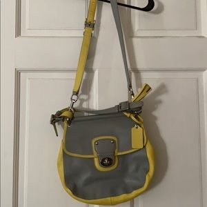 Grey and yellow coach satchel/ purse